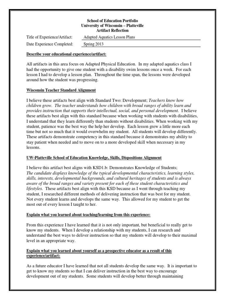 artifact template standard two lesson plan physical education - Describe Your Educational Experience