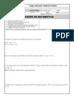 ATIVIDADE 3 ANO - ENSINO MÉDIO - PRIMEIRO BIMESTRE - EQ. DA RETA