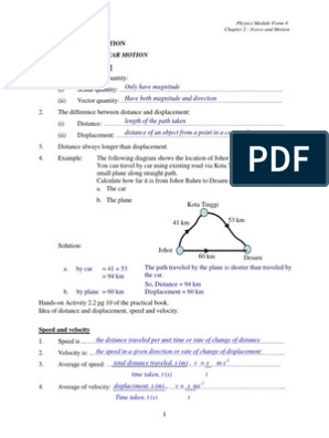 Physics Module Form 4 Teachers Guide Chapter 2 Force And Motion