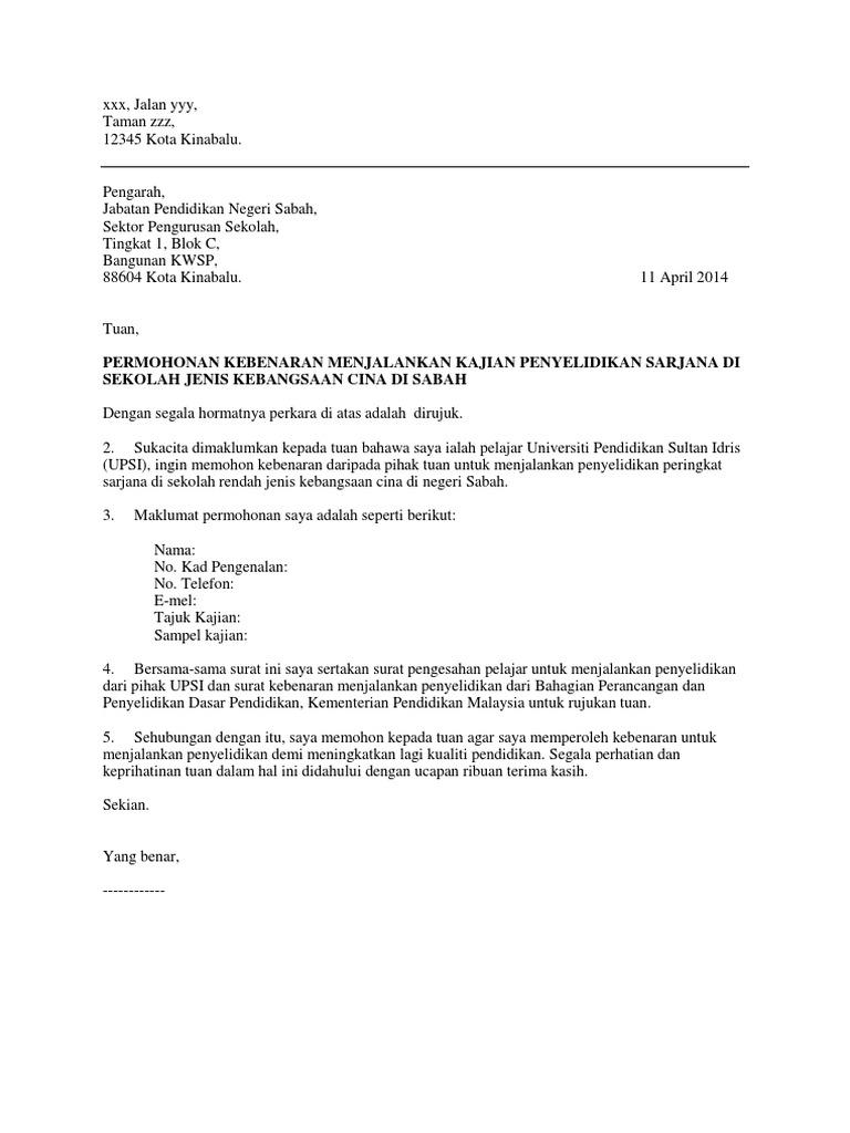 Contoh Surat Rasmi Permohonan Mengadakan Aktiviti - Rasmi Ro