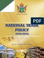 Zimbabwe National Trade Policy Document 2012 2016