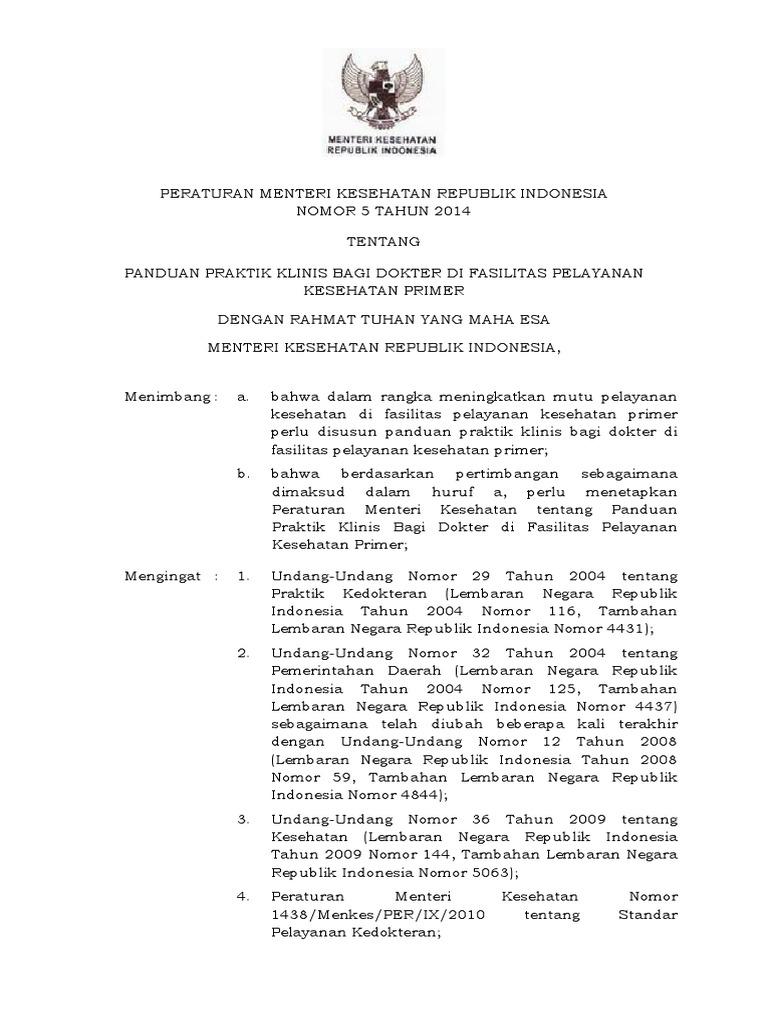 PERMENKES No 5- Tahun 2014 - Panduan Praktik Klinis Dokter Di Fasilitas  Pelayanan Primer -PRTC f2d3a8a5eb