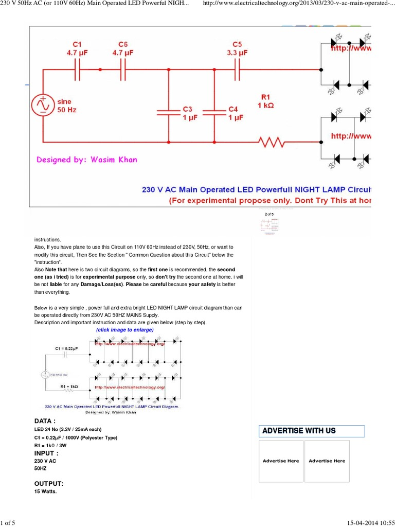 Ac Operated Led Night Lamp Circuit Diagram Series And Parallel In A Circuits Electrical Network