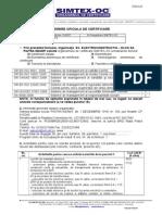 Cerere Oficiala de Certificare