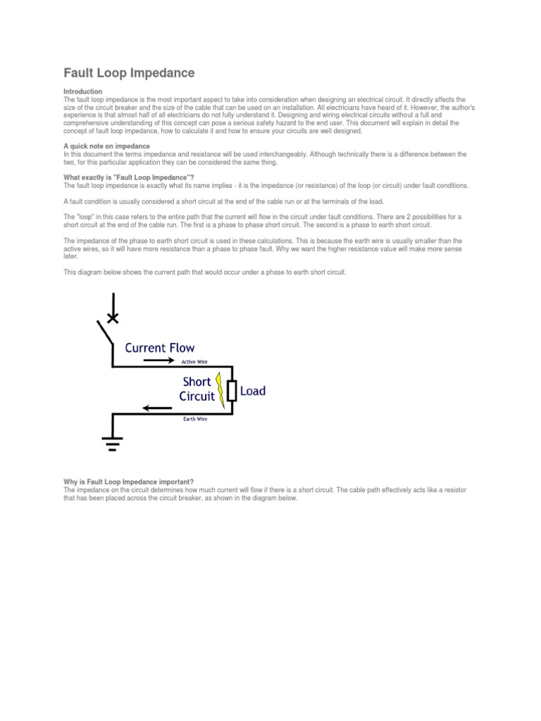 Earth Fault Loop Impedence Electrical Resistance And Conductance Current Wiring Diagram Impedance
