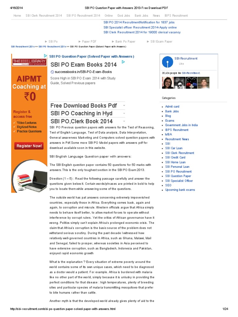 Sbi Clerk Previous Year Question Paper 2013 Pdf