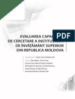 Evaluarea capacității de cercetare a instituțiilor de învățământ superior din RM.