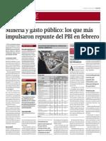 Minería y gasto público impulsaron repunte PBI febrero_Gestión 16-04-2014
