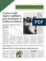 Evalúan exigir seguro cambiario para desalentar crédito en dólares_Gestión 16-04-2014