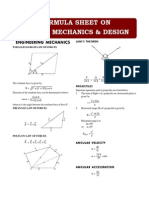 Formula Sheet - Applied Mechanics & Design