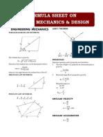 Formula Sheet - Applied Mechanics & Design