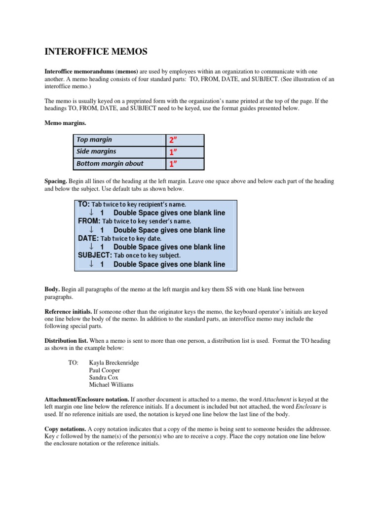 INTEROFFICE MEMOS Handout for Keyboarding Memorandum – Interoffice Memos