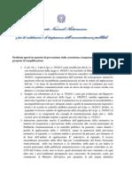 Problemi Aperti in Materia Di Prevenzione Della Corruzione, Trasparenza e Performance e Proposte Di Semplificazione