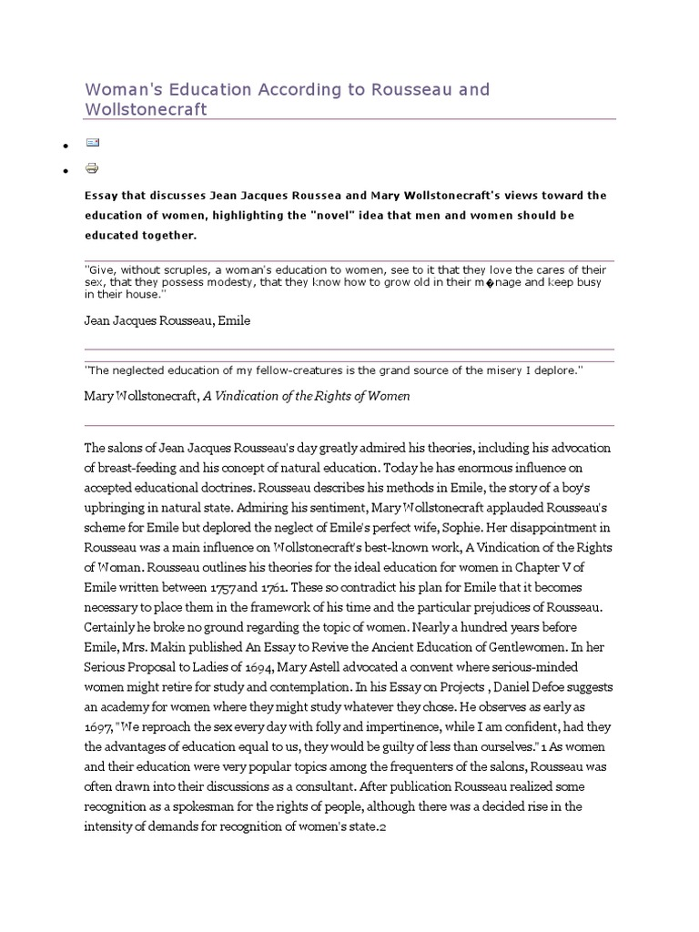 Argumentative Essay Thesis Examples Womans Education According To Rousseau And Wollstonecraft  Emile Or On  Education  A Vindication Of The Rights Of Woman Essay On Pollution In English also Apa Format Sample Paper Essay Womans Education According To Rousseau And Wollstonecraft  Emile  Model Essay English