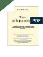 Hume Essai Sur Le Platonicien