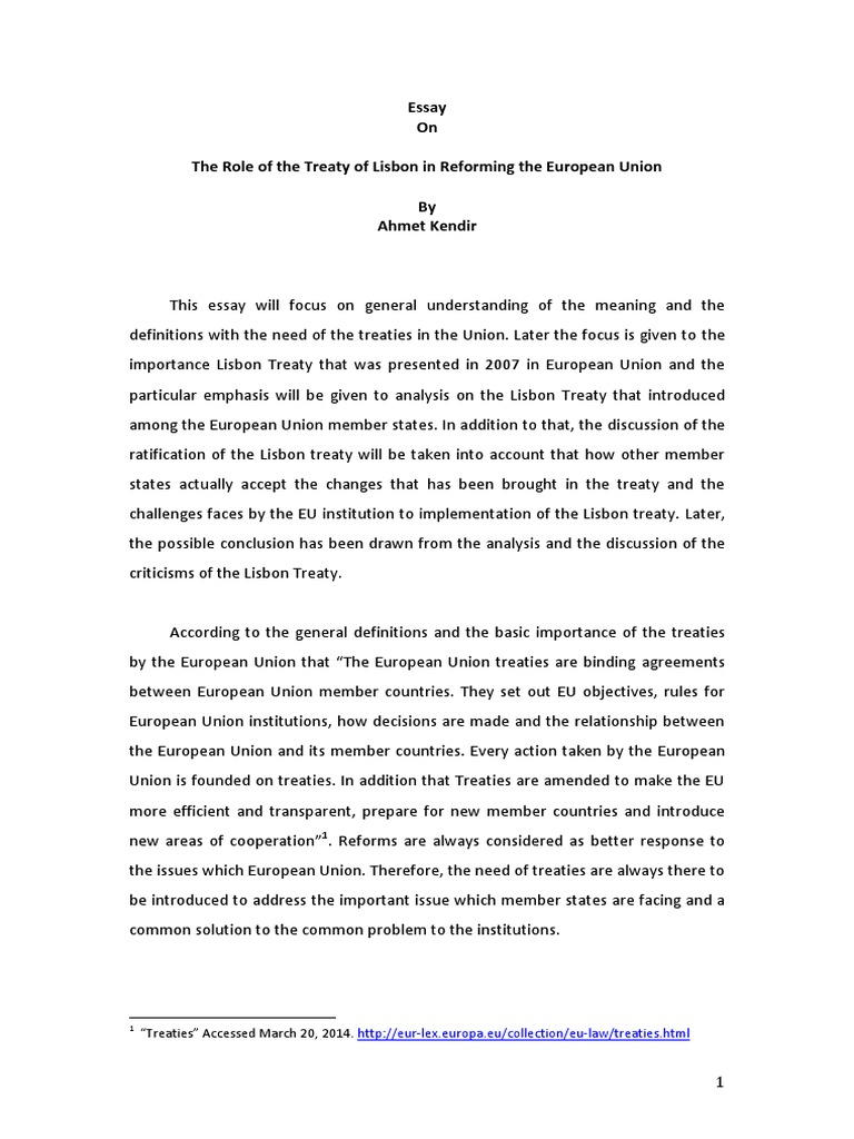 essay treaty lisbon View lisbon treaty research papers on academiaedu for free.