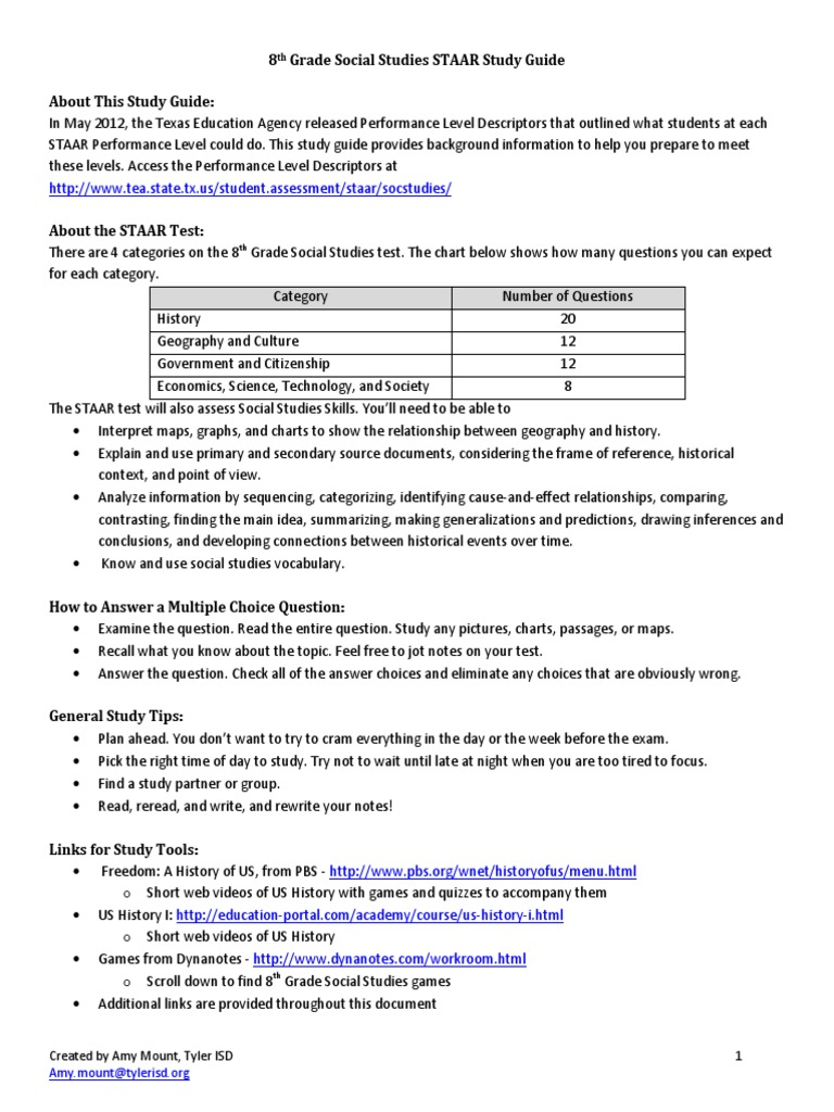 Study guide for sixth grade staar array a mount presentation 8th grade social studies staar study guide rh scribd com fandeluxe Image collections
