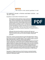Equicapita Update – ATB Financial to return personal guarantees for small businesses