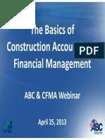 ABC Basics of Construction Accounting Webinar April 2013