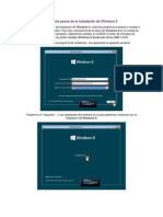 Primeros pasos de la instalación de Windows 8