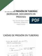 CAÍDAS DE PRESIÓN EN TUBERÍAS
