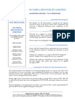 Olympia Resources Third Quarter Activities and Cashflow Report 2009