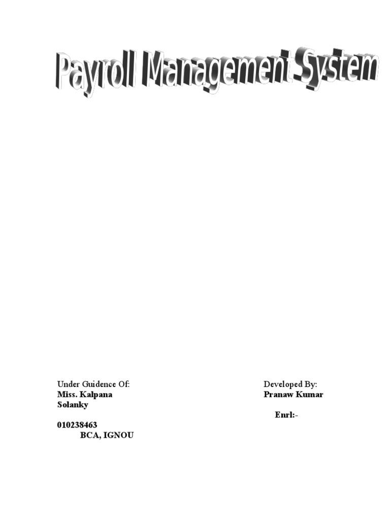 Payroll system documentation essays