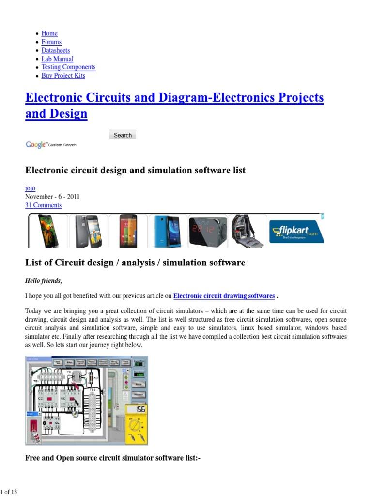Free Circuit SimulatorCircuit Design and Simulation Software List