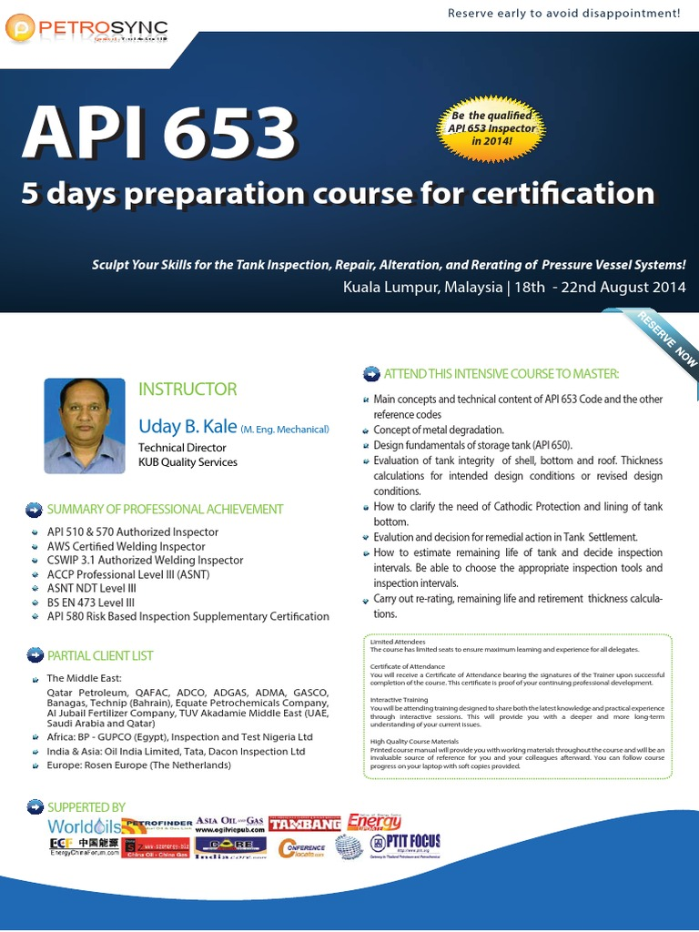 Api 653 Storage Tank Inspector Certification Examination