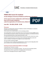 PRIME Student Course, Cluj 2013