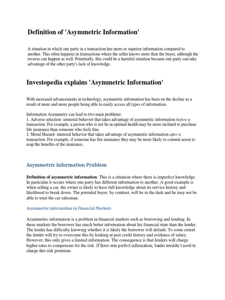 Asymmetric Information In Financial Institution Public Good Banks