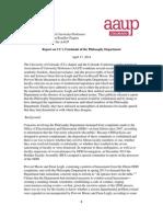 AAUP Report on CU Philosophy Department