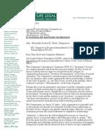 Life Legal Defense Foundation Letter RE