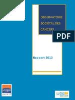 Rapport 2013 Observatoire Societal Des Cancers