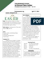 Newsletter 4-17-14