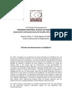 Aladaa 2014. Uba. Primera Circular Congreso Nacional Aladaa Argentina