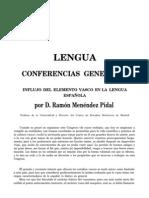 Menendez Pidal - Influjo Del Elemento Vasco en La Lengua Espanola