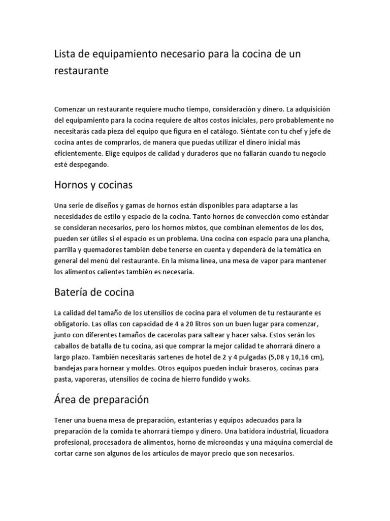 Lista de equipamiento necesario para la cocina de un for Lista de utiles de cocina