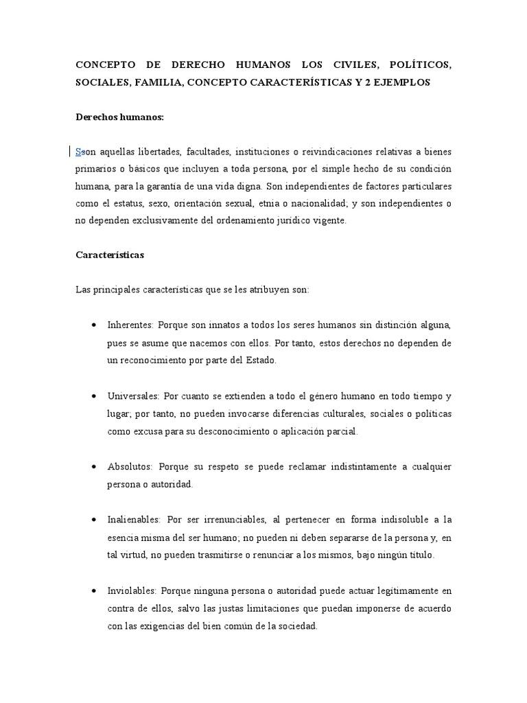 Concepto de derecho humanos los civiles for Concepto de familia pdf