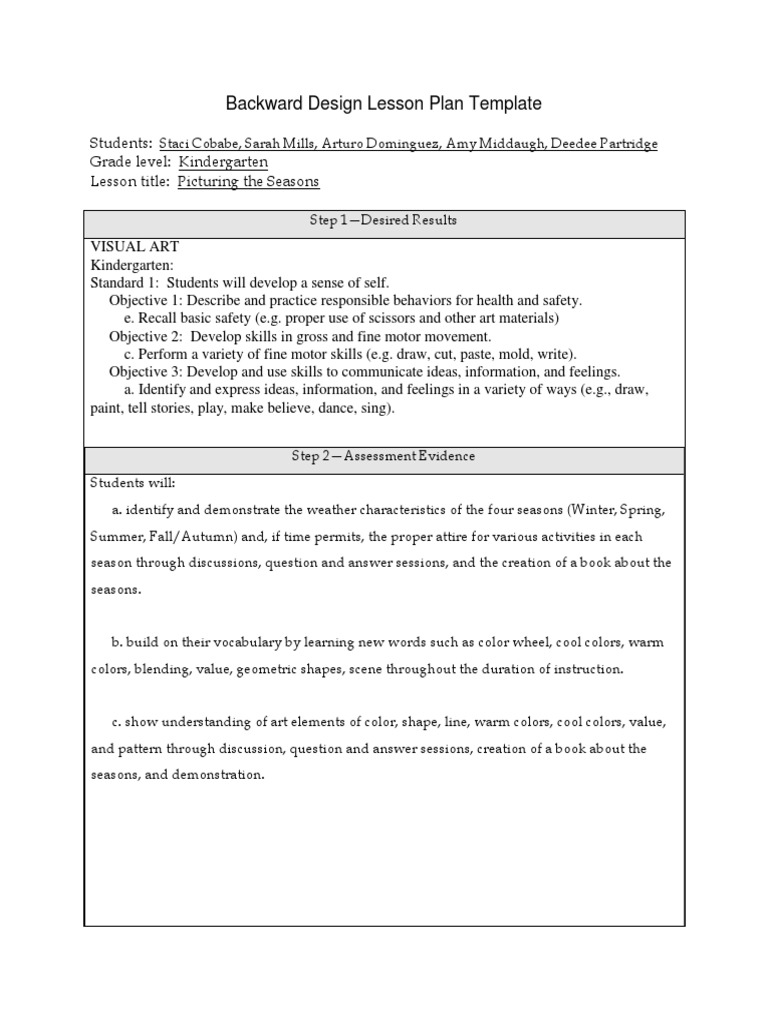 Backward Design Lesson Plan Template Teaching Method Educational Assessment