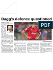 Dagg's defence questioned (The Star, April 2, 2014)