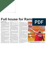 Full house for Rams' return (The Star, April 4, 2014)