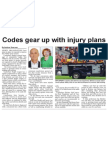 Codes gear up with injury plans (The Star, April 9, 2014)