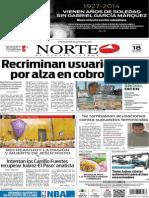 Periódico Norte de Ciudad Juárez edición impresa del 18 abril del 2014