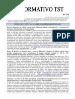 Informativo TST nº 074