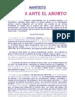 MANIFIESTO MUJERES ANTE EL ABORTO