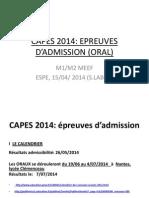 CAPES 2014 présentation modalités ORAL