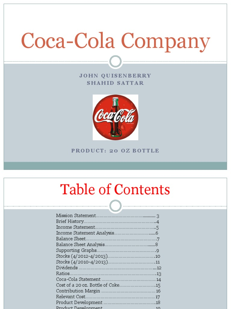 cost sheet analysis of coca cola