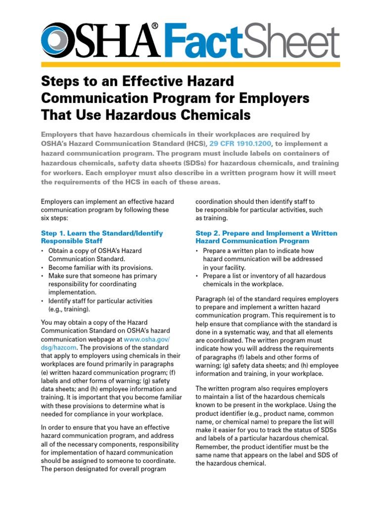 OSHA Hazcom | Occupational Safety And Health Administration