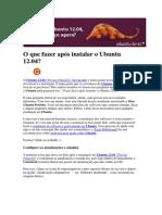 O que fazer após instalar o Ubuntu 12